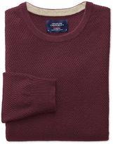 Charles Tyrwhitt Wine Merino Cotton Crew Neck Wool Sweater Size Large