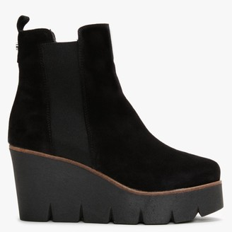 Alpe Alpaca Black Suede Wedge Ankle Boots