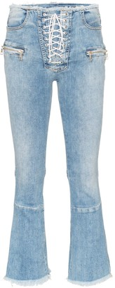Unravel Project Cropped Frayed Jeans