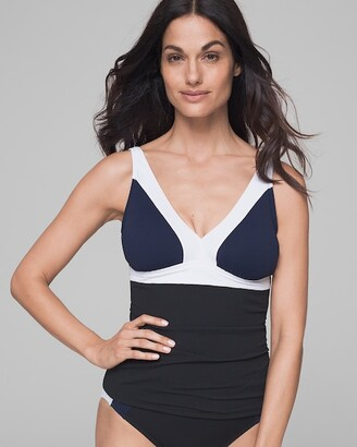 Soma Intimates Color Block Over the Shoulder V-Neck Tankini Swim Top