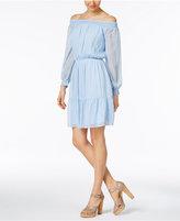 ECI Metallic Off-The-Shoulder Peasant Dress