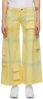 Collina Strada Yellow Grid Cargo Trousers