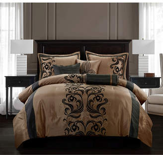 Helda 7-Piece Comforter Set, Tan/Black, King Bedding