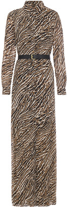 MICHAEL Michael Kors Belted Tiger-print Crepe Maxi Shirt Dress