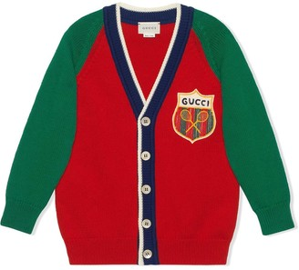 Gucci Kids Tennis Emblem V-Neck Cardigan