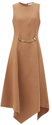 J.W.Anderson Chain-embellished Asymmetric Wool-blend Dress - Beige