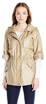 Eliza J Outerwear Women's Crinkle Iridescent Anorak with Cinch Waist
