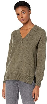 Madewell Donegal Bartlett V-Neck Pullover Sweater in Coziest Yarn (Donegal Forest) Women's Clothing