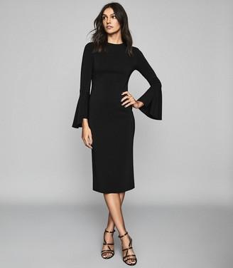 Reiss ANNIE FLUTE SLEEVE BODYCON DRESS Black