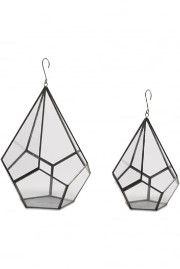 Nkuku Small Manduri Hanging Planter - Small - Grey/Glass