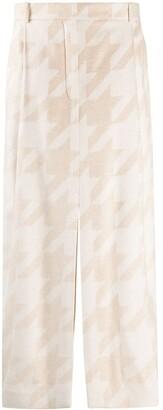 Nina Ricci Houndstooth Front-Slit Skirt