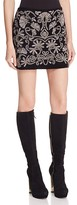 Alice + Olivia Elana Metallic Embroidered Mini Skirt