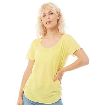 Jacqueline De Yong Womens Linette Short Sleeve T-Shirt Celandine