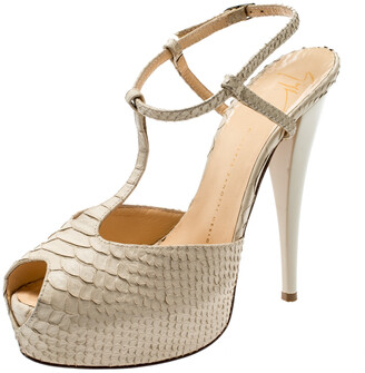 Giuseppe Zanotti Beige Python Embossed Leather T Strap Platform Sandals Size 39