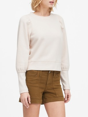 Banana Republic Cropped Puff-Sleeve Sweatshirt