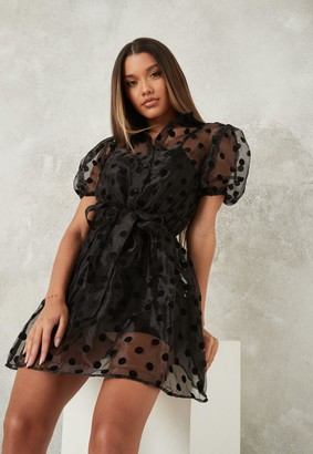 Missguided Black Organza Polka Dot Skater Shirt Dress