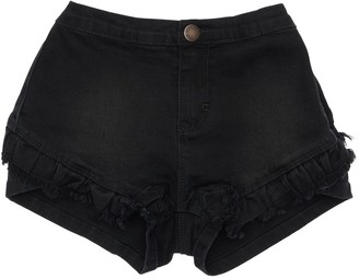 Molo Stretch Denim Shorts W/ Ruffle