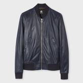 Paul Smith Men's Slate Blue Lamb Leather Bomber Jacket