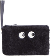 Anya Hindmarch Navy Shearling Eyes Zip Clutch