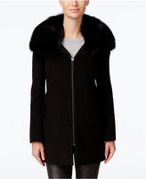 MICHAEL Michael Kors Fox-Fur-Trim Wool-Blend Walker Coat