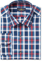 Club Room Men's Estate Classic-Fit Wrinkle Resistant Blue Large Tartan Dress Shirt, Only at Macy's