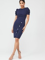 Quiz Crepe Puff Sleeve Midi Dress - Navy