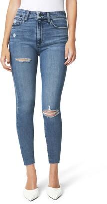 Joe's Jeans The Charlie Ripped High Waist Raw Hem Crop Skinny Jeans