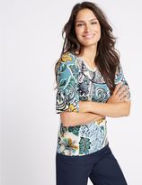Marks and Spencer Swirl Print Flute Sleeve Round Neck T-Shirt