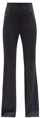The Row Delon High-rise Scuba-jersey Flared Trousers - Navy