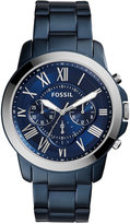 Fossil Men's Chronograph Nate Blue Ion-Plated Stainless Steel Bracelet Watch 44mm FS5230