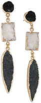 ABS by Allen Schwartz Gold-Tone Black & White Resin Drop Earrings