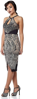 Gatsbylady London Faith Leopard Print Black Brown Bohemian Halter Neck Bodycon Dress