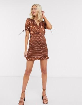Moon River satin bodycon dress in brown polka dot