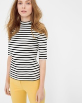 White House Black Market Stripe Mock Neck Top