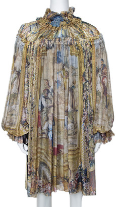 Dolce & Gabbana Multicolor Printed Silk Gathered & Ruffled Long Sleeve Tunic M