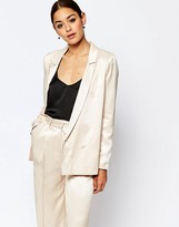 Asos Premium Satin Double Breasted Suit Jacket