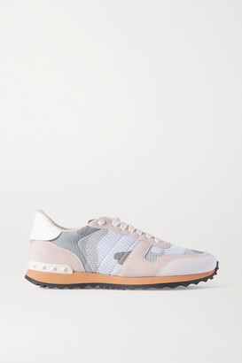 Valentino Garavani Rockrunner Leather And Suede-trimmed Camouflage-print Mesh Sneakers - White