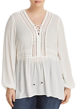 Seven7 Lace Up Peasant Top