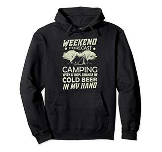 Camper Weekend Forecast Camping Cold Beer Funny Gift Pullover Hoodie