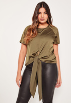 Missguided Plus Size Exclusive Khaki Satin Tie Front Top