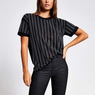River Island Womens Black diamante stripe loose fit T-shirt
