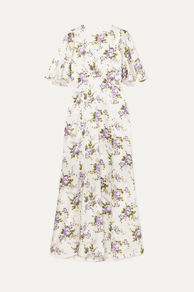 Les Rêveries Floral-print Silk-charmeuse Maxi Dress - Ivory