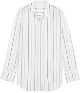 Equipment Holly Striped Washed-silk Shirt - White
