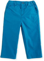Burberry Bryan Twill Straight-Leg Pants, Blue, Size 6M-3