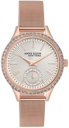 Anne Klein Women's Rose Gold Crystal Accent Mesh Bracelet Watch, 34.5mm