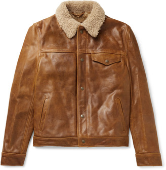 Schott Shearling-Trimmed Leather Trucker Jacket