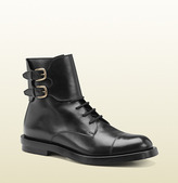Gucci Black Leather Double Buckle Military Boot