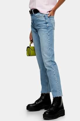 Topshop Womens Considered Bleach Wash Organic Cotton Straight Jeans - Bleach Stone