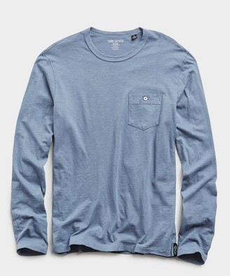 Todd Snyder Made in L.A. Slub Jersey Long Sleeve T-Shirt in Air Force Blue