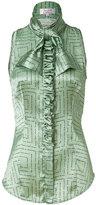 L'Wren Scott Mint/Black Tie Neck Silk Top with Ruffle